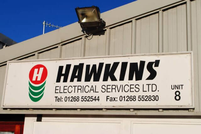 Hawkins electrical services Basildon shop sign