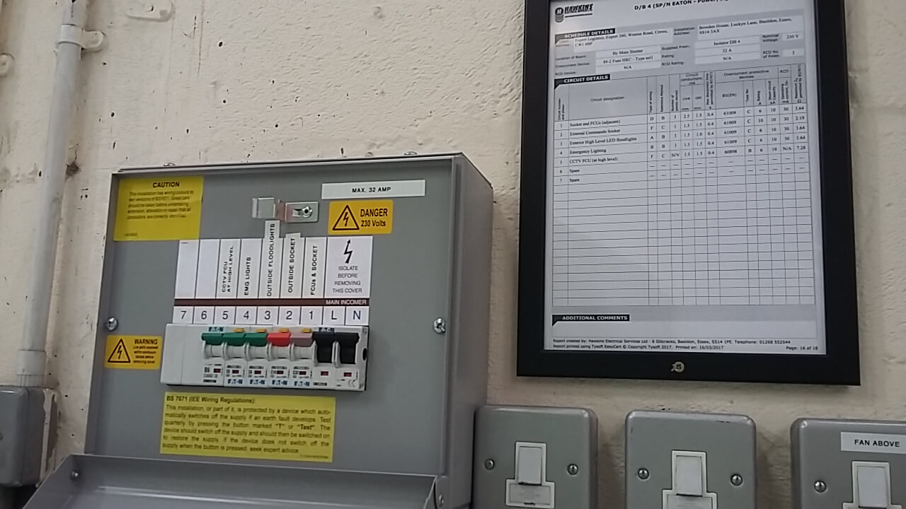 Electrical contractor inspects fuse box