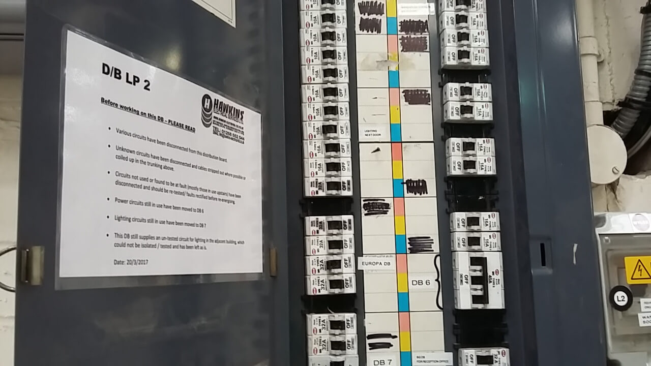 Hawkins electrical contractors badge in fuse box