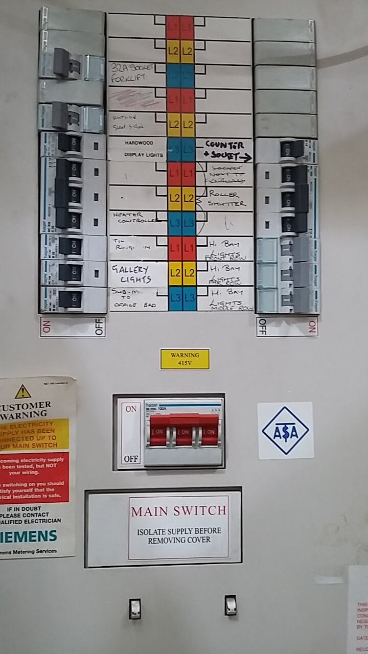 Fuse box labelling by a qualified electrical contractor